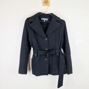 KENNETH COLE REACTION Womens Black Pea Coat